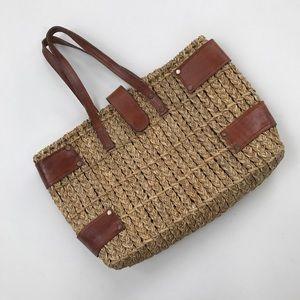 straw braided wicker basket handbag satchel